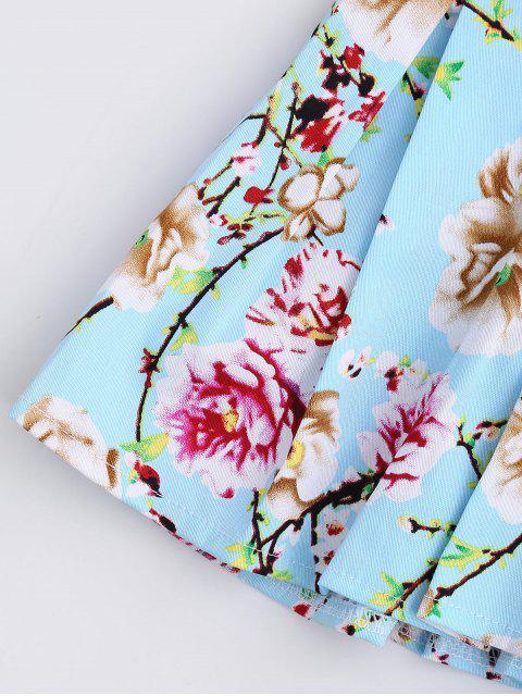 shop Floral Print Ruffle Hem Cami Top - SKY BLUE L Mobile