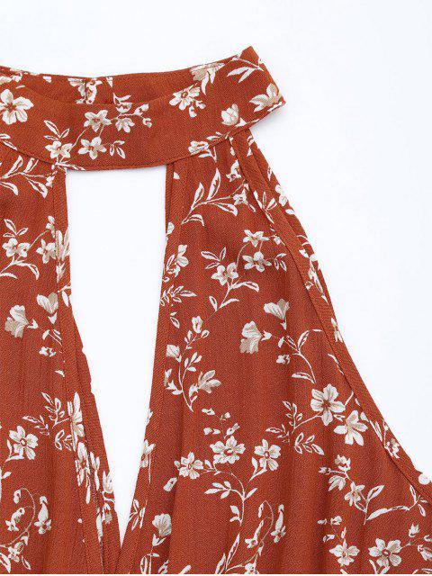 fancy High Neck Cut Out Floral Print Romper - FLORAL S Mobile