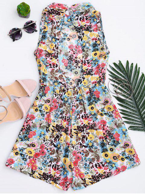 womens Floral Print Backless Romper - FLORAL M Mobile