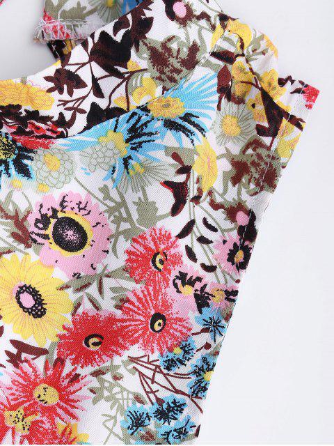 women's Floral Print Backless Romper - FLORAL XL Mobile
