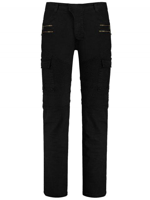 chic Zips Cargo Pants with Multi Pockets - BLACK 2XL Mobile