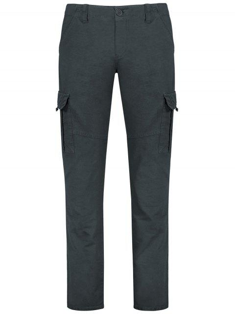 womens Straight Cargo Pants with Flap Pockets - GRAY 30 Mobile