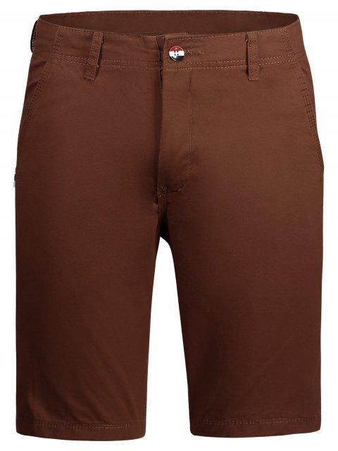 chic Casual Zip Fly Plain Chino Shorts - BRICK-RED 36 Mobile