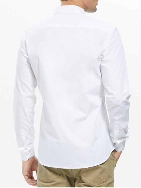 fashion Button Down Business Pocket Shirt - WHITE L Mobile