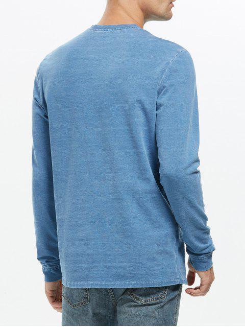 buy Crew Neck Plain Sweatshirt - BLUE 2XL Mobile