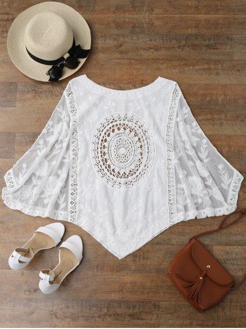 Cover Up crochet à bas asymétrique - Blanc TAILLE MOYENNE Mobile