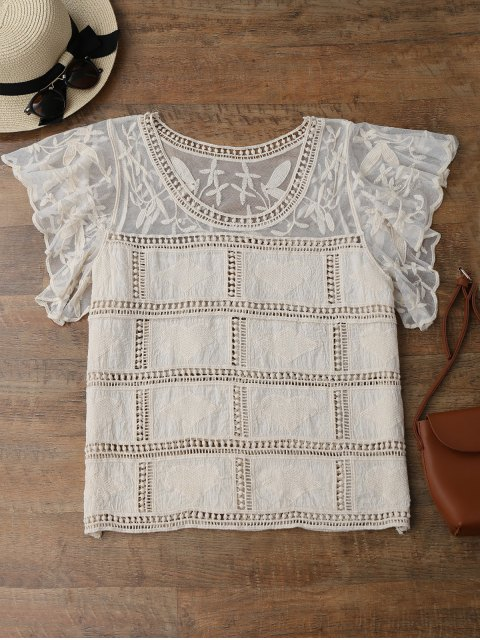 ladies Butterfly Sleeve Crochet Cover Up - OFF-WHITE ONE SIZE Mobile