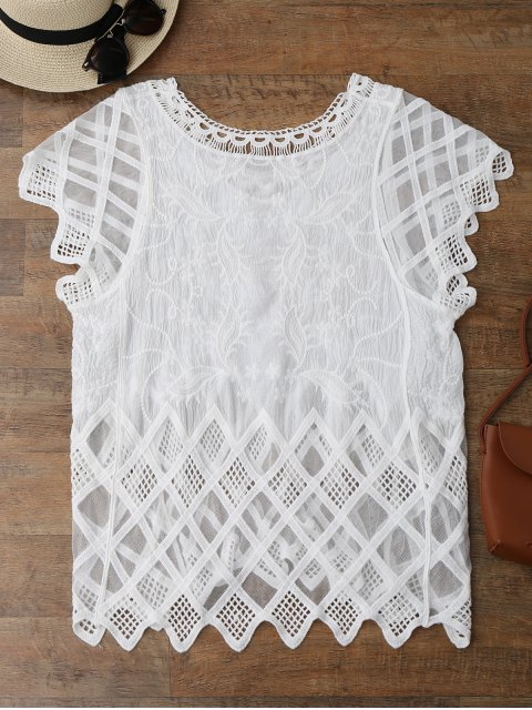 lady Geometric Embroidered Crochet Panel Cover Up - WHITE ONE SIZE Mobile