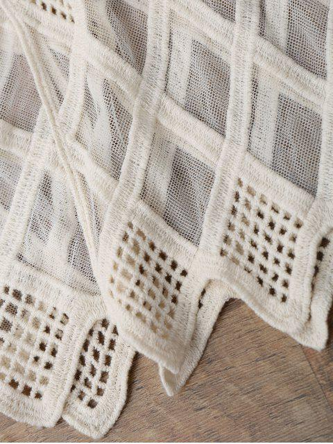 best Geometric Embroidered Crochet Panel Cover Up - OFF-WHITE ONE SIZE Mobile