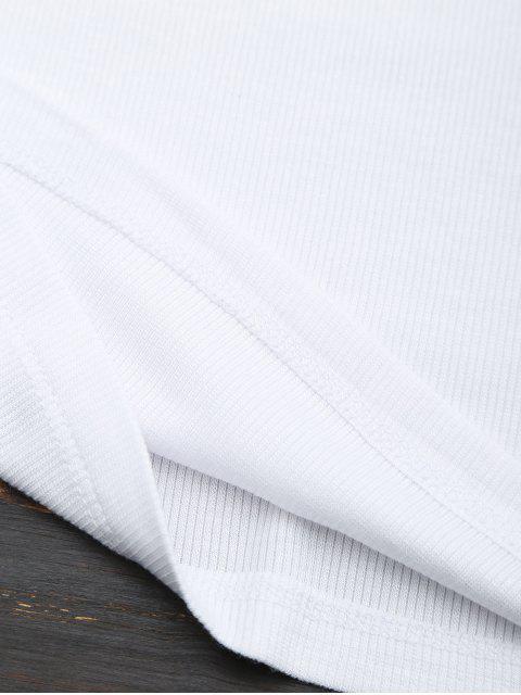 T-shirt en tricot dos à lacet - Blanc M Mobile