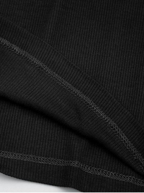 T-shirt en tricot dos à lacet - Noir S Mobile
