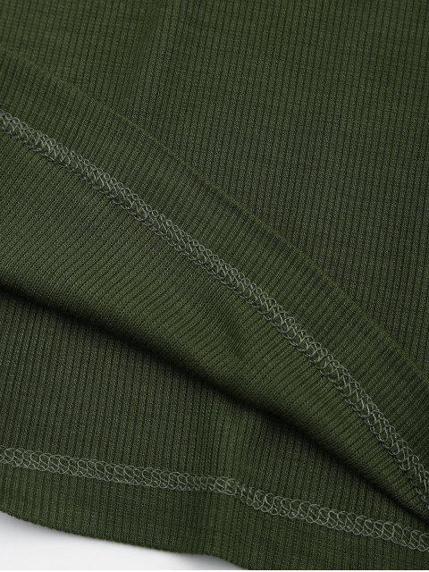 shop Criss Cross Ribbed Knitted Tee - ARMY GREEN S Mobile