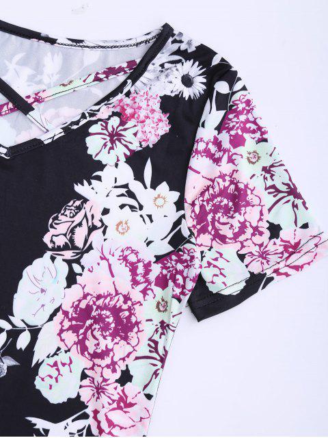 unique Criss Cross Floral Print V Neck Tee - BLACK L Mobile