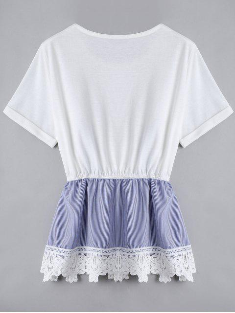 womens Lace Panel Faux Twin Set Striped Tee - WHITE L Mobile