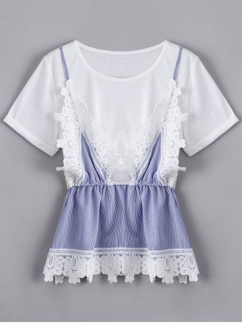 women Lace Panel Faux Twin Set Striped Tee - WHITE XL Mobile