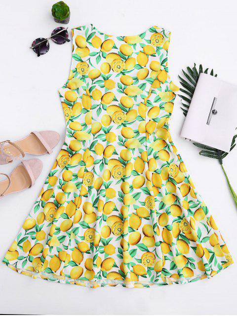 shop Lemon Print Sleeveless Sweetheart Dress - YELLOW M Mobile