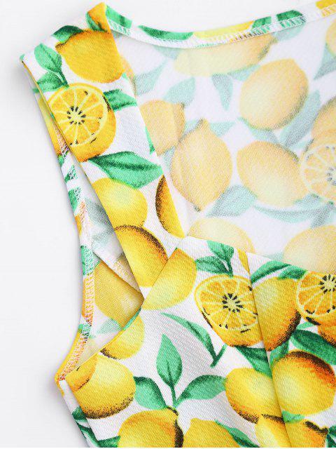 fashion Lemon Print Sleeveless Sweetheart Dress - YELLOW L Mobile