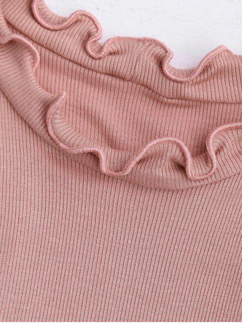 chic Crop Ribbed Texture Ruffles Top - PINK L Mobile
