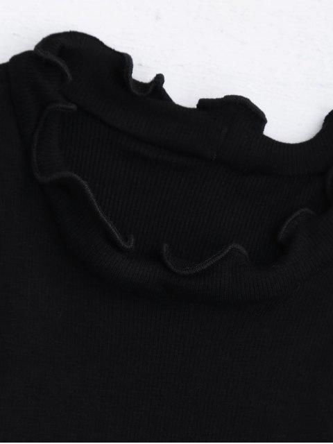 Coupe de volaille à texture côtelée Haut - Noir S Mobile