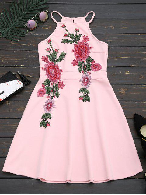 fashion Floral Patched Cami Flare Dress - PINK S Mobile