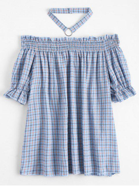 ladies Ruffled Checked Blouse with Chocker - CHECKED S Mobile