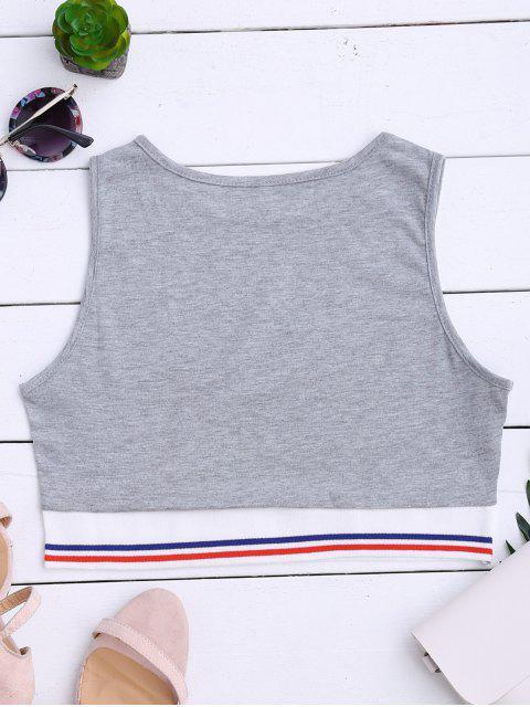 women's Striped Cropped Tank Top - GRAY M Mobile