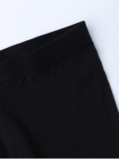 shop Stretchy Soft Elastic Waist Leggings - BLACK ONE SIZE Mobile