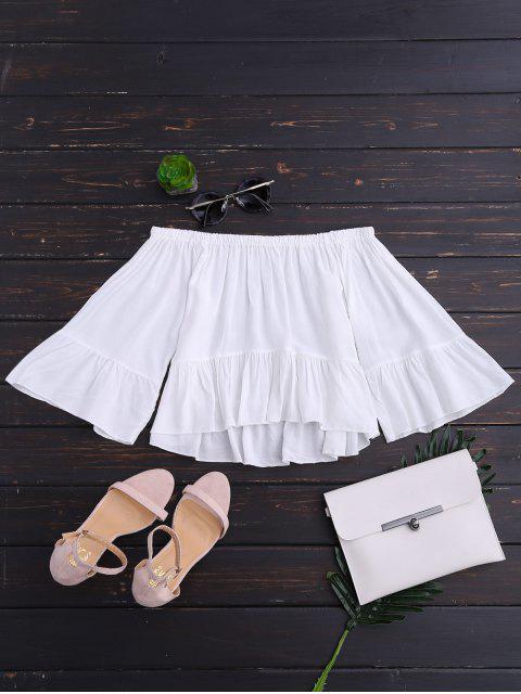 trendy Off The Shoulder Ruffle Hem Crop Blouse - WHITE L Mobile