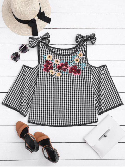 chic Floral Embroidered Gingham Cold Shoulder Top - CHECKED L Mobile