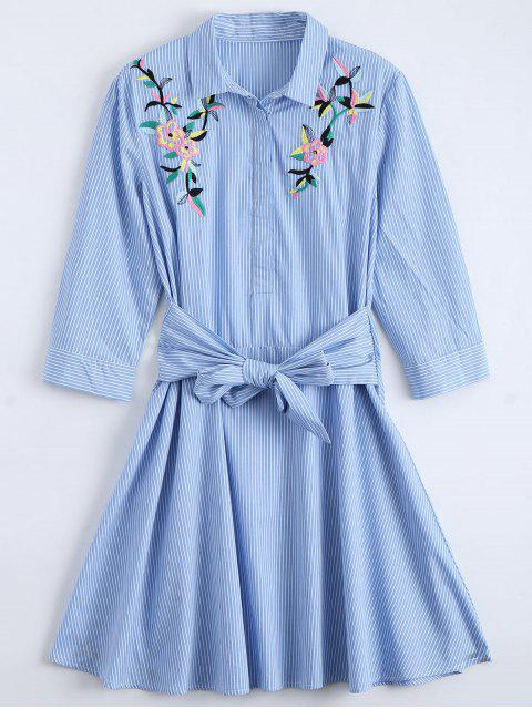 women Tied Floral Embroidered Striped Shirt Dress - BLUE L Mobile