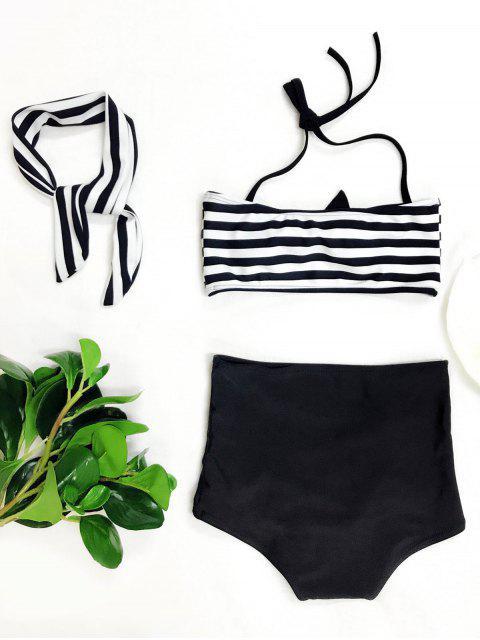trendy High Waisted Bandeau Bikini With Headband - WHITE AND BLACK 6T Mobile