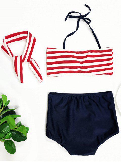 chic High Waisted Bandeau Bikini With Headband - BLUE AND RED 4T Mobile