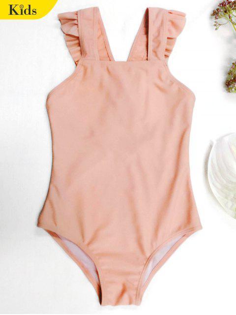 ladies Square Neck Frilled Girls Swimwear - ORANGEPINK 6T Mobile