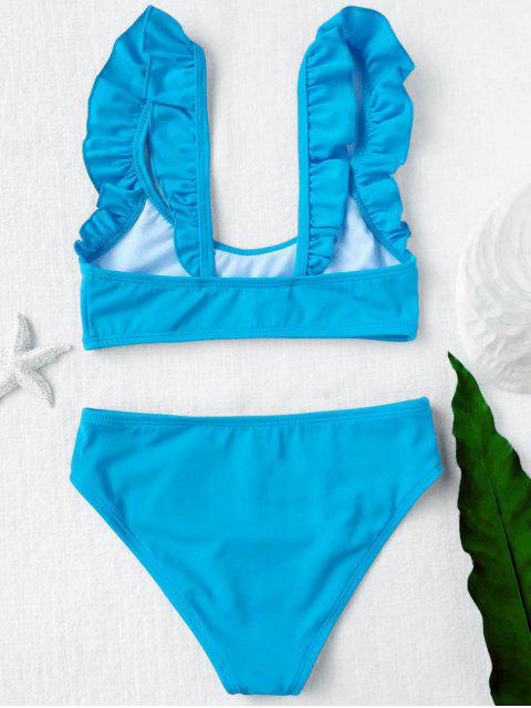 trendy Scoop Neck Frilled Bikini Set - BLUE 4T Mobile