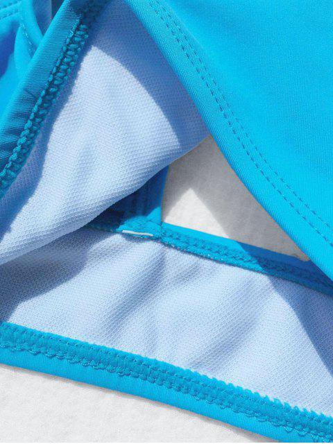Bikini plissé et bleu en col rond pour les filles - Bleu 6T Mobile