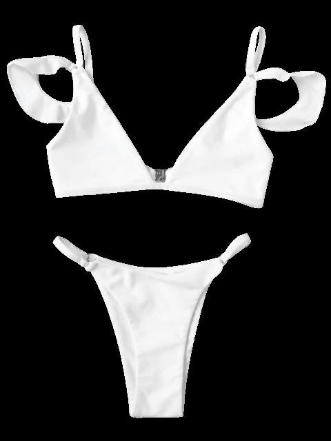 buy Cami Ruffle Sleeve Girls String Bikini Set - WHITE 3T Mobile