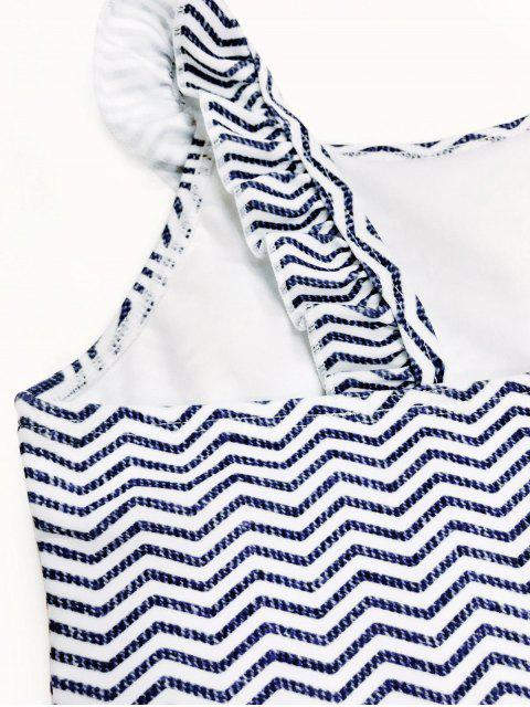 ladies Frilled Zig Zag One Piece Swimwear - BLUE AND WHITE 4T Mobile