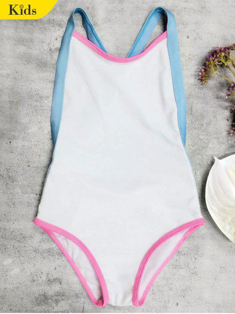 chic Open Back Tricolor Girls One Piece Swimwear - WHITE 4T Mobile