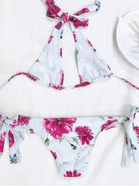 outfit Halter Floral Tied Bikini For Kid - WHITE 5T Mobile