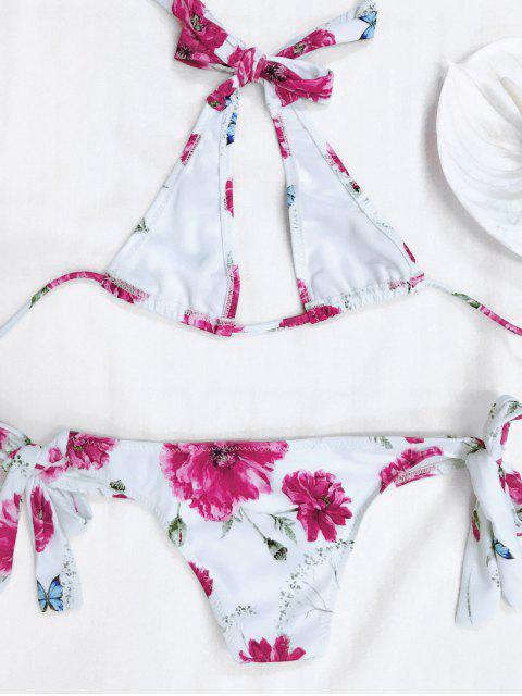 shop Halter Floral Tied Bikini For Kid - WHITE 7T Mobile