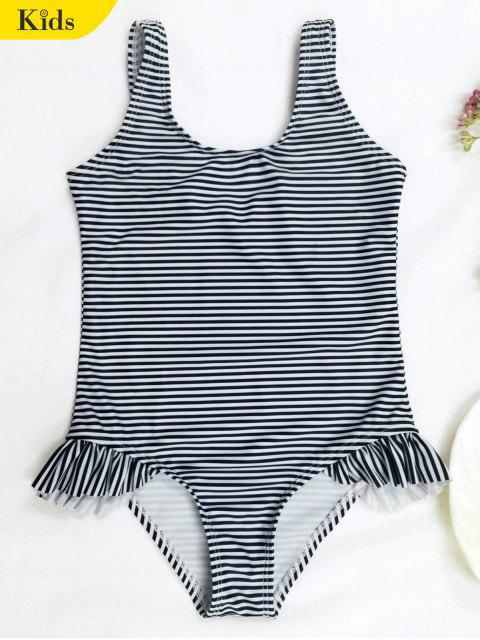 Zurück Low Cut Striped Ruffled Kid Badeanzug - Streifen  4T Mobile