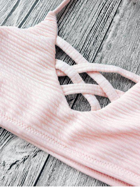 shop Strappy Ribbed Texture String Bikini - SHALLOW PINK 8T Mobile