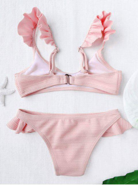 shops Scoop Ribbed Texture Frilled Bikini - SHALLOW PINK 4T Mobile