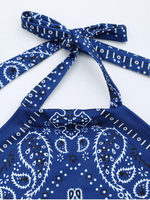top court à col halter imprimé en motif - Bleu S Mobile