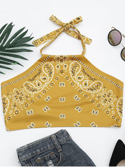 ladies Printed Halter Neck Crop Top - YELLOW XL Mobile
