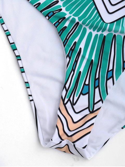 women Tribal Cut Out Padded One-piece Swimsuit - GREEN 2XL Mobile