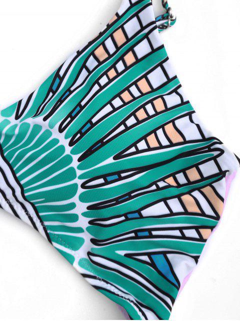 Maillot de Bain Une Pièce Imprimé Tribal Découpé Paddé - Vert 2XL Mobile