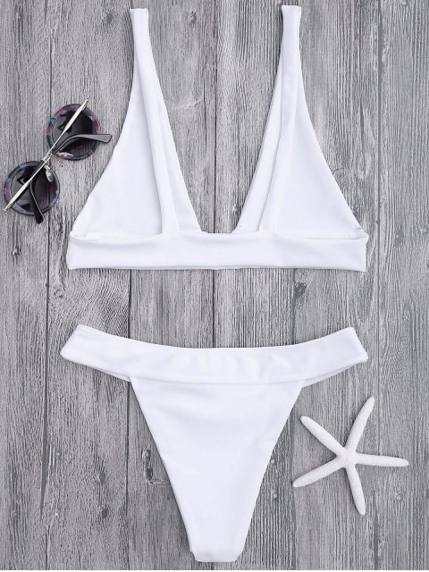ladies Plunge Bikini Top and High Cut Bottoms - WHITE S Mobile