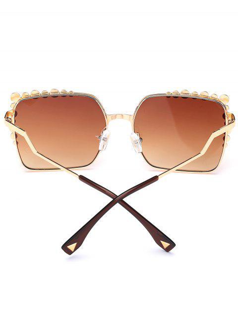 women Rectangle UV Protection Polka Dot Embellished Sunglasses - TEA-COLORED  Mobile
