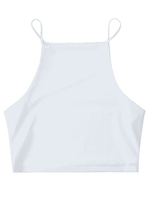 hot Cropped Dropped Armhole Cami Top - WHITE L Mobile